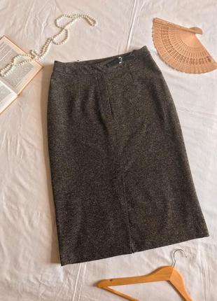 Меланжевая коричневая прямая юбка миди из шерсти и шёлка (размер 14/42)