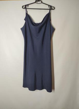 Темно-синие платье слип в бельевом стиле в горошек