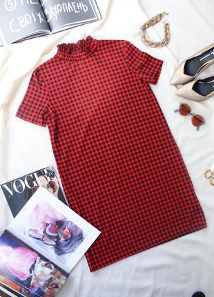 Платье сукня в клітинку червоно чорна стильна повсякденна від zara красно черная клетка
