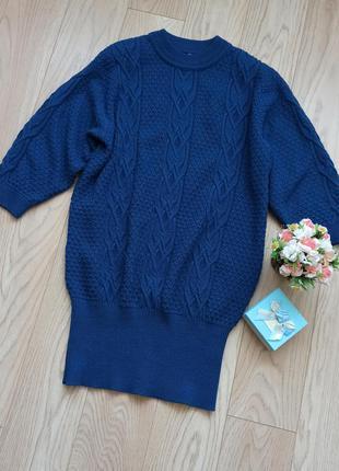 Синее вязанное платье свитер, на манжете, р.м