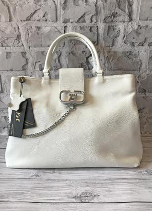 Белая вместительная кожаная сумка polina & eiterou 🤍