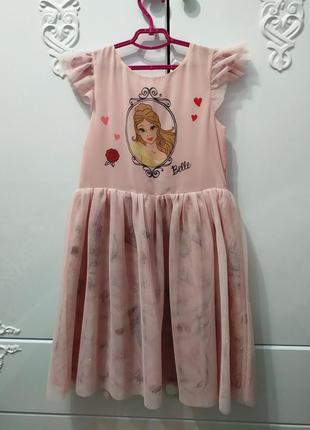 Нарядное платье с фатином принцесса белль.h&m на 8-9 лет