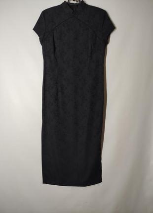 Черное миди платье в китайском японском восточном стиле