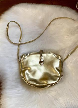 Красивая золотая сумка кросс боди клатч на три отделения