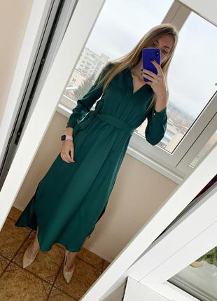 Зеленое длинное платье в пол нарядное праздничное плаття