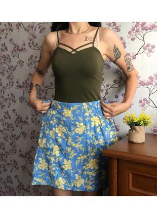 Натуральная синяя юбка с желтыми цветами 14-42/xl