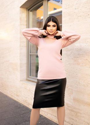 Кожаная юбка карандаш. 3 расцветки.