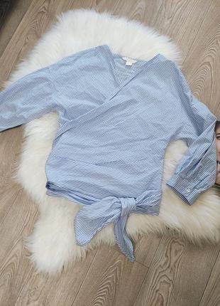 Женская оригинальная рубашка блуза блузка хб в полоску на запах