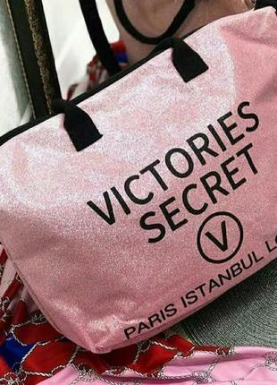 Повседневная сумка виктория сикрет. пляжная сумка виктория сикрет, сумка с блестками, сумка шопер