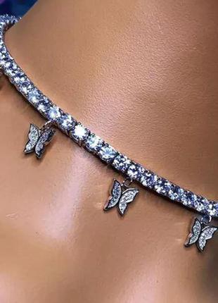 Цепочка кулон ожерелье бабочки с стразами серебряный цвет