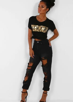 Стильные  чёрные джинсы  мом