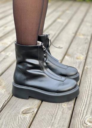 🍂демисезонные женские ботинки the row zip-front leather ankle boots black