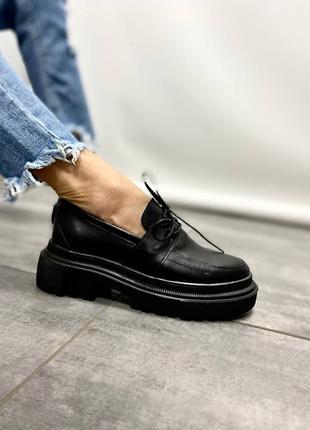 Туфли лоферы натуральная кожа черный 974 мокасины ботинки оксфорды на высокой подошве