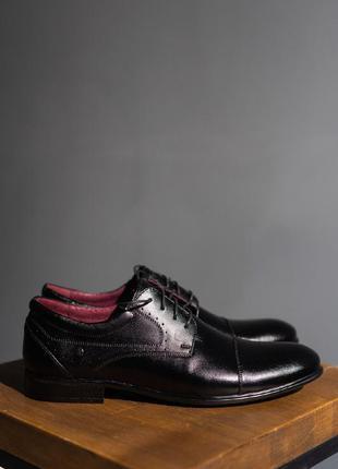 Мужские черные кожаные туфли осенние / чоловічі чорні туфлі