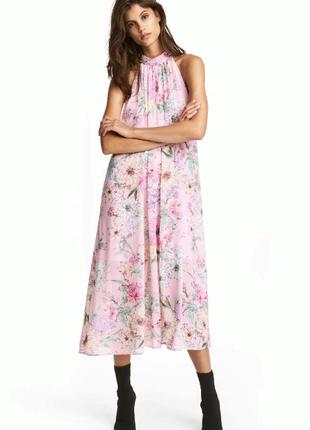 Платье h&m розовое разноцветное цветочный принт шифоновое