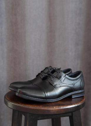 Мужские черные кожаные туфли осень демисезон
