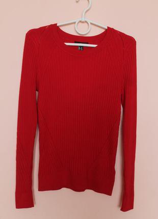 Красная натуральная кофточка, кофта, свитер, свитерок, светр 46-48 р.