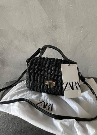 Чёрная плетённая сумка сумочка кроссбоди zara