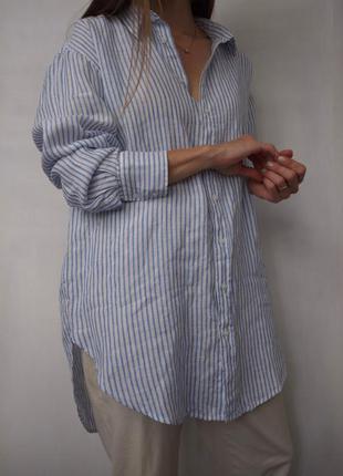 Льняная рубашка удлиненная блуза платье лен