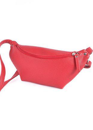 Бананка красная женская мини сумка на пояс модная нагрудная поясная сумочка через плечо
