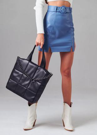 Синяя кожаная юбка с поясом