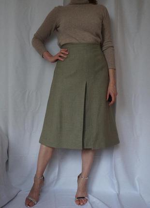 Теплая юбка миди высокая посадка оливковая шерсть стиль max mara