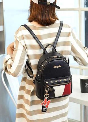 Классический женский городской мини рюкзак aliri-00217 экокожа черный
