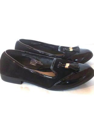 Стильные туфли лоферы балетки на низком ходу, р.36 код t3622