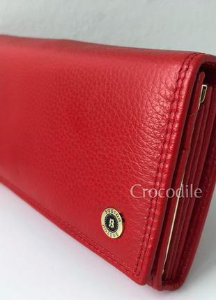 Кожаный красный кошелек книжка 53108 большой