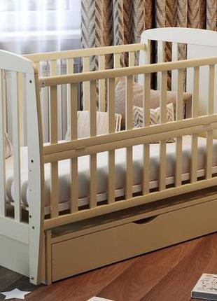 """Дитяче ліжечко з відкідною боковинкою з шухлядою """"жирафка"""""""