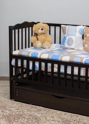 """Дитяче ліжечко """"мрія"""" венге з відк.боковинкою на шарнірах з шухлядою"""