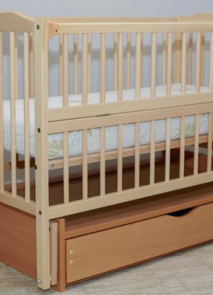 """Дитяче ліжечко """"мрія"""" натуральне з відк.боковинкою на шарнірах з шухлядою"""