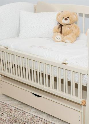 """Дитяче ліжечко """"еліт"""" слонова кістка з від.боковинкою на шарнірах (з шухлядою)"""