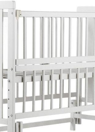 """Детская кроватка """"мишка"""" белого цвета с откр. боковинки на шарнирах"""