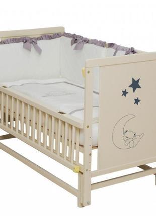 """Дитяче ліжечко """"ведмедик"""" слонова кістка з відк. боковинкою на шарнірах"""