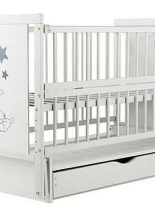 Кроватка детская labona мишка шарнир+подшипник, откидная боковина, ящик, сіро-біла