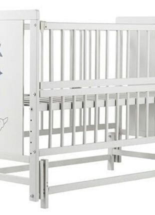 Кроватка детская labona звезда шарнир+подшипник, откидная боковина,сіро- белая