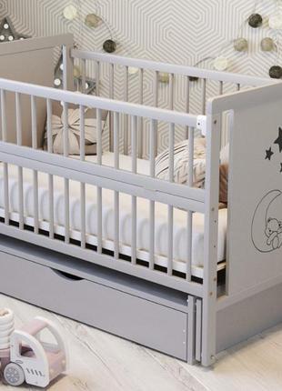 """Дитяче ліжечко """"ведмедик» сірий"""
