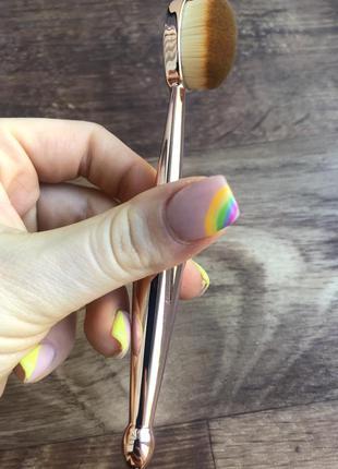 Новая кисть щетка золотая для тонального и жидких основ