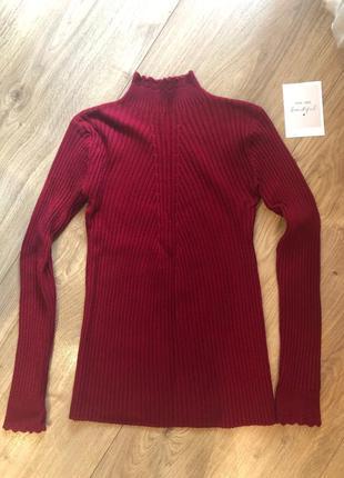 Женская гольф кофта свитер водолазка с мелкой вязкой