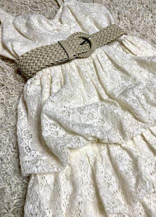 Коктэйльное платье кружевное сарафан на брителях guess