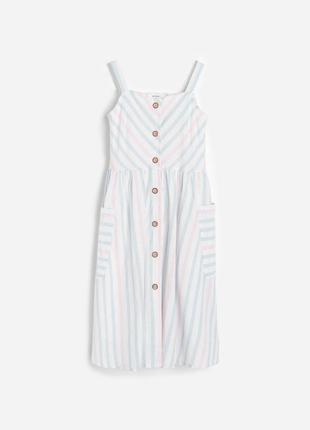 Сарафан льон бавовна, р.xs-s, reserved, польща / платье, сукня