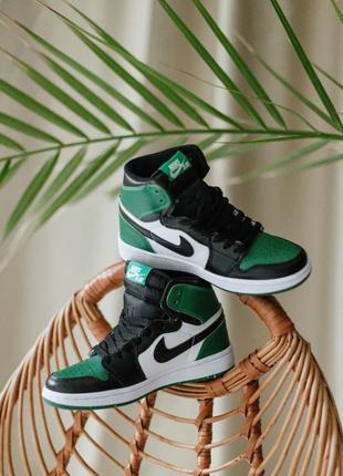 Женские кроссовки nike air jordan 1 retro high pine green ❤️ кожа демисезонные