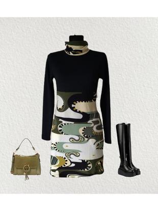 Теплое трикотажное платье сукня туника гольф бадлон hhg испания р.46
