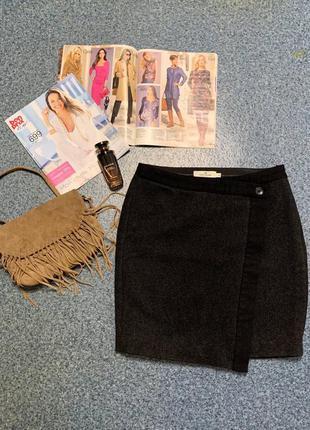 Шерстяная юбка мини на запах tom tailor 36 черная теплая