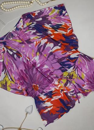 Блуза туника на кулиске цветочная шифоновая laura ashley uk 14/42/l