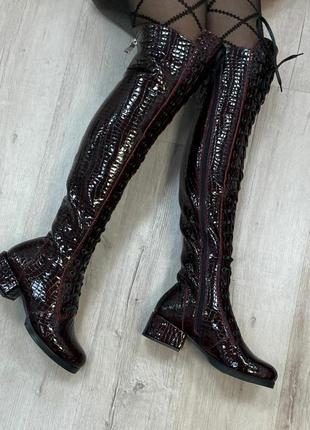 Эксклюзивные дизайнерские ботфорты кожа натуральная осень зима бордо