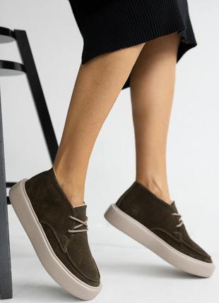 Ботинки женские натуральная кожа на байке