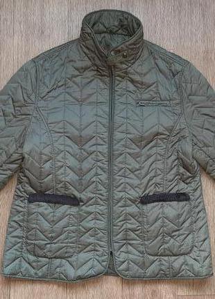 Стеганная куртка, легкий пуховик, демисезон, осень/весна, хаки, большой р.54-56