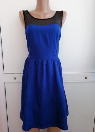Платье женское синее чёрное короткое сетка